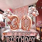 Globos de Cumpleaños de 30 Años, Cortina de Oro Rosa, Decoraciones de Globos de Cumpleaños, Suministros para Mujeres, Confeti, Globos de Látex Impresos