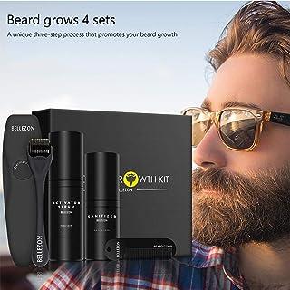 Baiwka Barba Kit de Crecimiento, Barba Herramientas de Crecimiento, Incluye 30ml Barba Serum Activador de Crecimiento/Rodillo de barba/15ml desinfectante&Peine, Juego de Cuidado de Barba para Hombres
