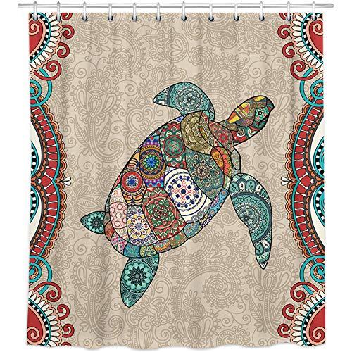 Bonsai Tree Sea Turtle Shower Curtain, Waterproof Boho Bathroom Curtains, Colorful Ocean Fabric Shower Curtains Hooks for Bathroom Decorations, 72'x72'