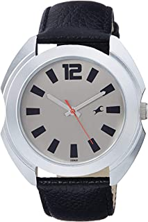 Fastrack Men's Grey Dial Leather Band Watch - 3117SL02