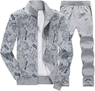 Mens Athletic Long Selves Fleece Full Zip Gym Tracksuit Jogging Set Active wear