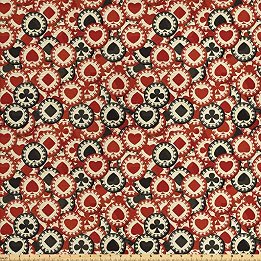 Lunarable Casino Fabric by The Yard, Poker Chips Metropolitan Life Dollar Currency Symbols Wealth Winning Enjoy, Decorative Fabric for Upholstery and Home Accents, 1 Yard, Redwood Black Cream oqvjrrvcnem570
