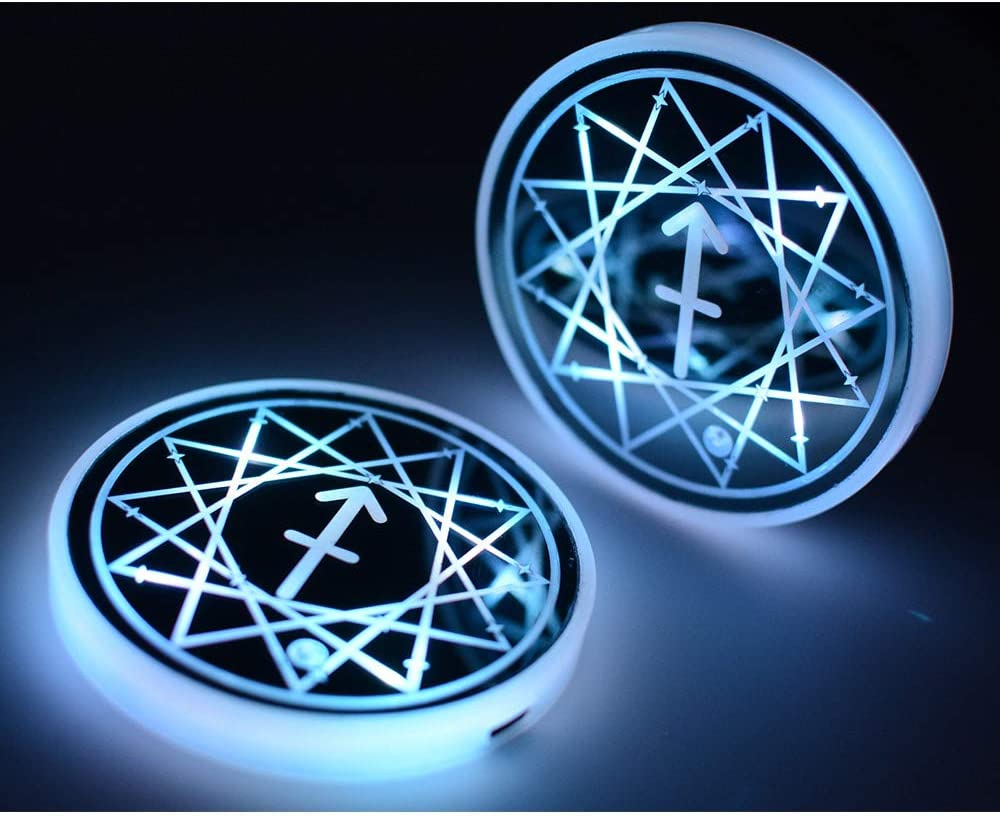 Luminescent Constellation Cup Pad Interior Atmosphere Lamp Decoration Light LED Cup Holder Lights,Sagittarius Car Cup Holder Coaster for Car with 7 Colors Changing USB Charging Mat Sagittarius