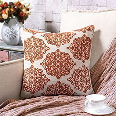 TINA'S HOME Damask Crewel Rope embroidery Linen Throw Pillow | Charlotte Stitch Accent Pillow (18 x 18 inches, Rust Orange)