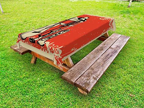 ABAKUHAUS Occidental Funda Nórdica, Música Country del Oeste Salvaje, 100% Poliéster con Estampado Digital Resistente, 145 cm x 265 cm, Beige Naranja