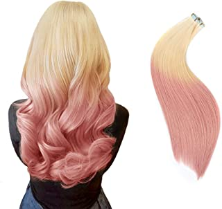 Rinboool 16 Inch 40g Ombre Tape In Hair Extensions Premium Remy Human Hair,Pre-taped Double Sided Regular Adhesive,Bleach Blonde To Light Pink,20pcs/pack