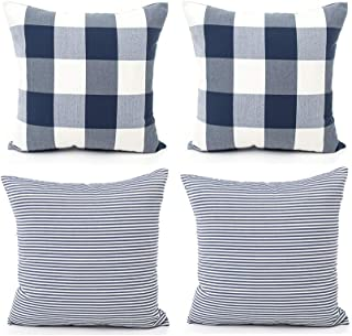COMHO Pack of 4, Cotton Woven Farmhouse Decorative Throw Pillow Covers, Rustic Cushion Covers, Square Buffalo Checker & Stripe Pillowcase for Sofa Bed (Navy Blue,18''X18'')