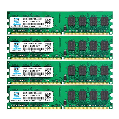 DDR2 PC2 5300 667 MHz Udimm RAM, Motoeagle 8GB Kit (2GBX4) PC2 5300U 1.8V Unbuffered Desktop Memory Modules