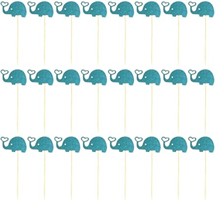 BESTONZON 24pcs Cake Cupcake Toppers Cute Elephant Shape Baby Shower Party Cake Decorations (Blue)