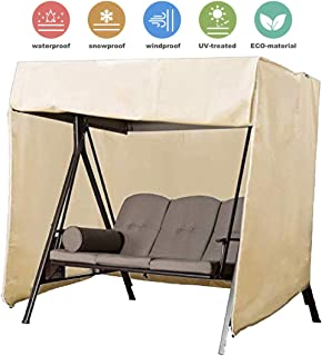 """Upgraded Patio Swing Cover Porch Swing Cover 3 Seater 420D Hammock Glider Canopy Replacement Cover Durable Waterproof UV Resistant Weather Protector Outdoor Patio Furniture Cover 87""""Lx49""""Wx67""""H (Beige"""