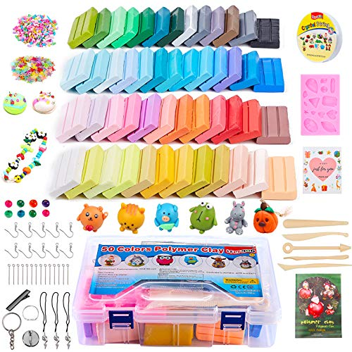 ifergoo Polymer Clay Starter Kit, 50 Colors Oven Bake Clay, DIY Modeling Clay Bockers, 5 Scuplting Tools, 40 Jewelry Accessories for Kids and Adults