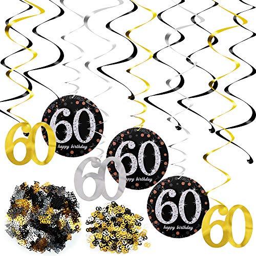 FLOFIA Kit Decoración 60 Cumpleaños Años Decoración Colgante Remolinos de Techo Adornos Espirales + Número 60 + Mesa Confeti para Mujer Hombre Adultos Accesorios Cumpleaños 60 Años Fiesta