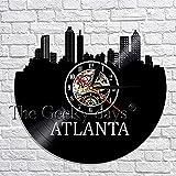 ZZLLL Atlanta City Sightseeing Decoración Reloj de Pared Reloj de Vinilo Vintage Reloj de Tiempo de Registro Reloj de Arte 3D Diseño Moderno Decoración del hogar Reloj de Pared Vintage