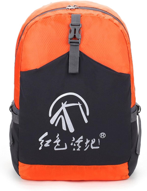 Outdoor Folding Backpack, Wearresistant Nylon Leisure Travel Bag Sports Riding Camping Rucksack, Unisex 22L Large Capacity Breathable Knapsack (orange)