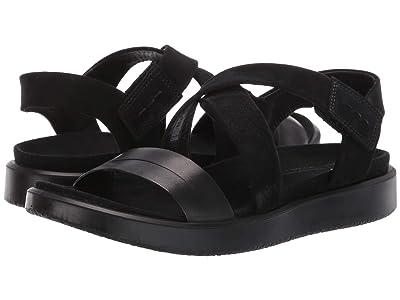 ECCO Flowt Cross Sandal (Black/Black Cow Leather/Cow Nubuck) Women