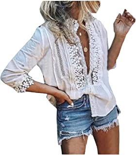 neveraway Women Crochet Lace Embroidered Flower Casual Summer Blouse Top