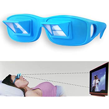 (2 Pack) Prism Glasses for Reading in Bed, Light Weight Horizontal Lazy Readers Spectacles Laying Down for Reading/Watching TV, Myopia/Presbyopia Usable - Blue