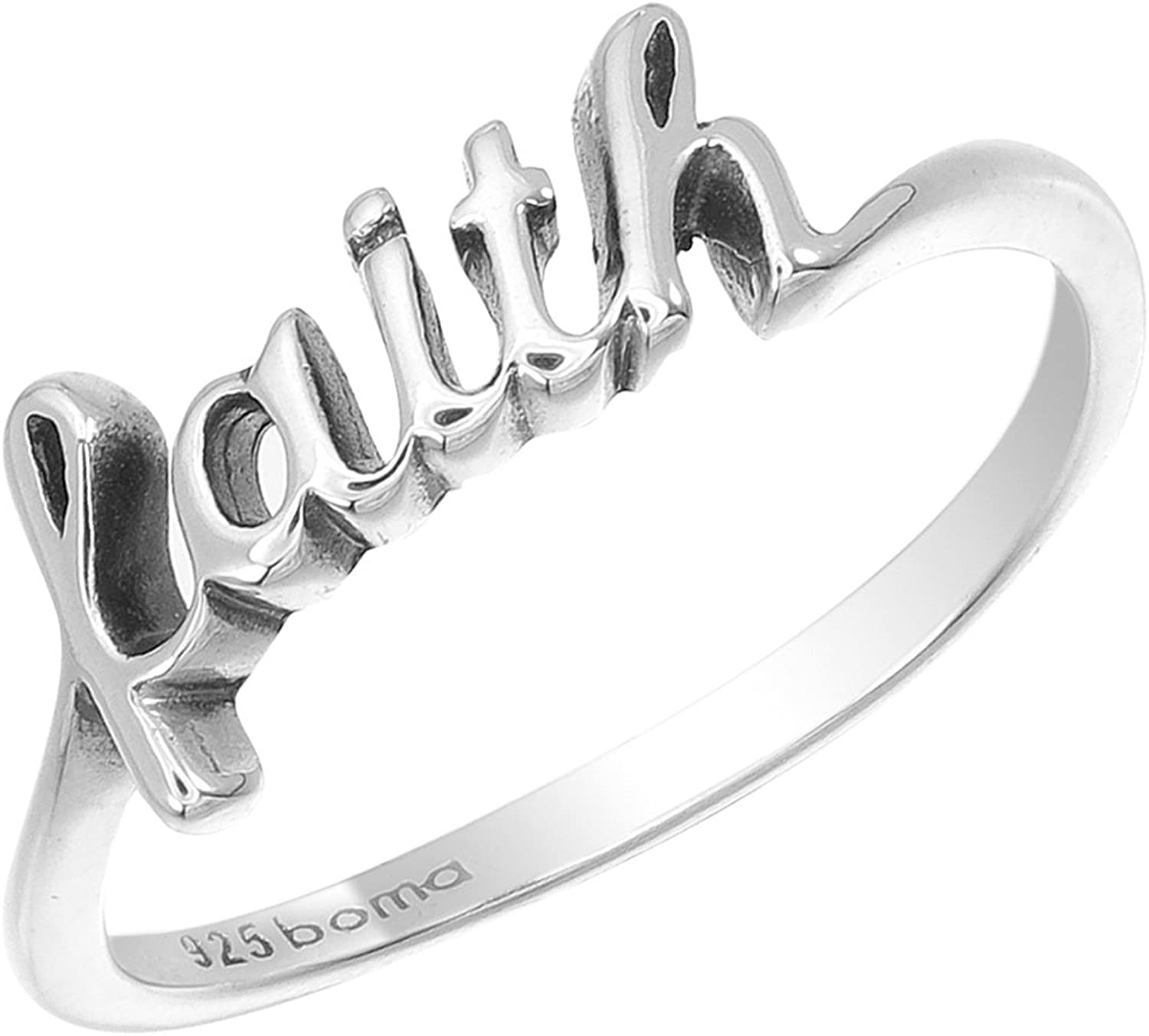 New York Mall Boma Jewelry Sterling Silver Ring Script Indefinitely Faith