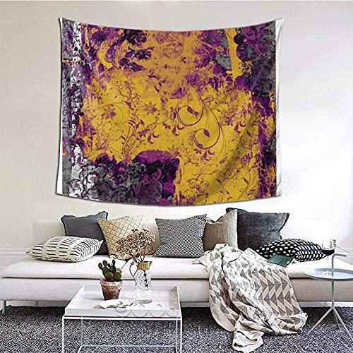 Tapiz para colgar en la pared, estilo gótico, floral, amarillo y morado, arte de pared para sala de estar, dormitorio, decoración del hogar, 152 x 130 cm