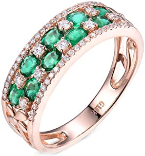 ButiRest - Anello in oro rosa 750, 18 carati con taglio ovale 1,28 ct verde smeraldo VS e diamante 0,55 ct