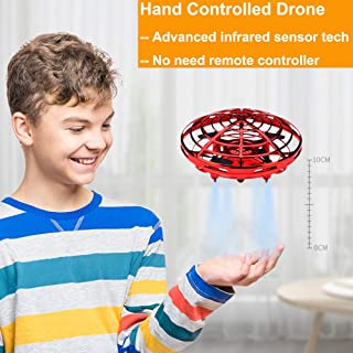 Boys Toys Kids Flying Drones Mini Hand Controlled Flying Ball Drone with 2 Speed and LED Light for Kids, Boys and Girls Gift (Red)