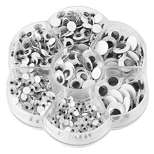 Rosenice - 700 Occhi adesivi in plastica, per fai da te, scrapbooking, accessori per giocattoli di dimensioni assortite