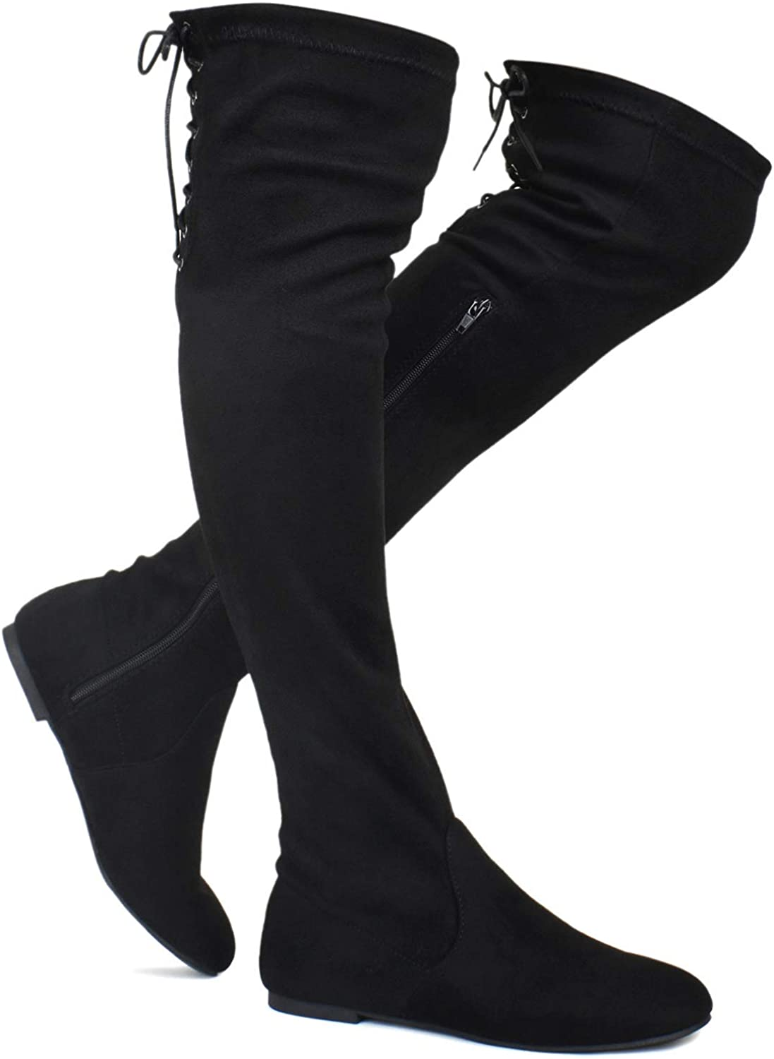 ShoBeautiful Women's Over The Knee Flat Boots Stretchy Back Lace Tie Up Low Heel Winter Thigh High Dress Boots (TM)