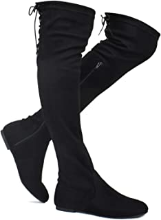 Women's Over The Knee Flat Boots Stretchy Back Lace Tie Up Low Heel Winter Thigh High Dress Boots (TM)