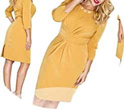Women Dress Vestidos Maxi Oversized O Neck Knee Length Three Quarter Pencil Dress