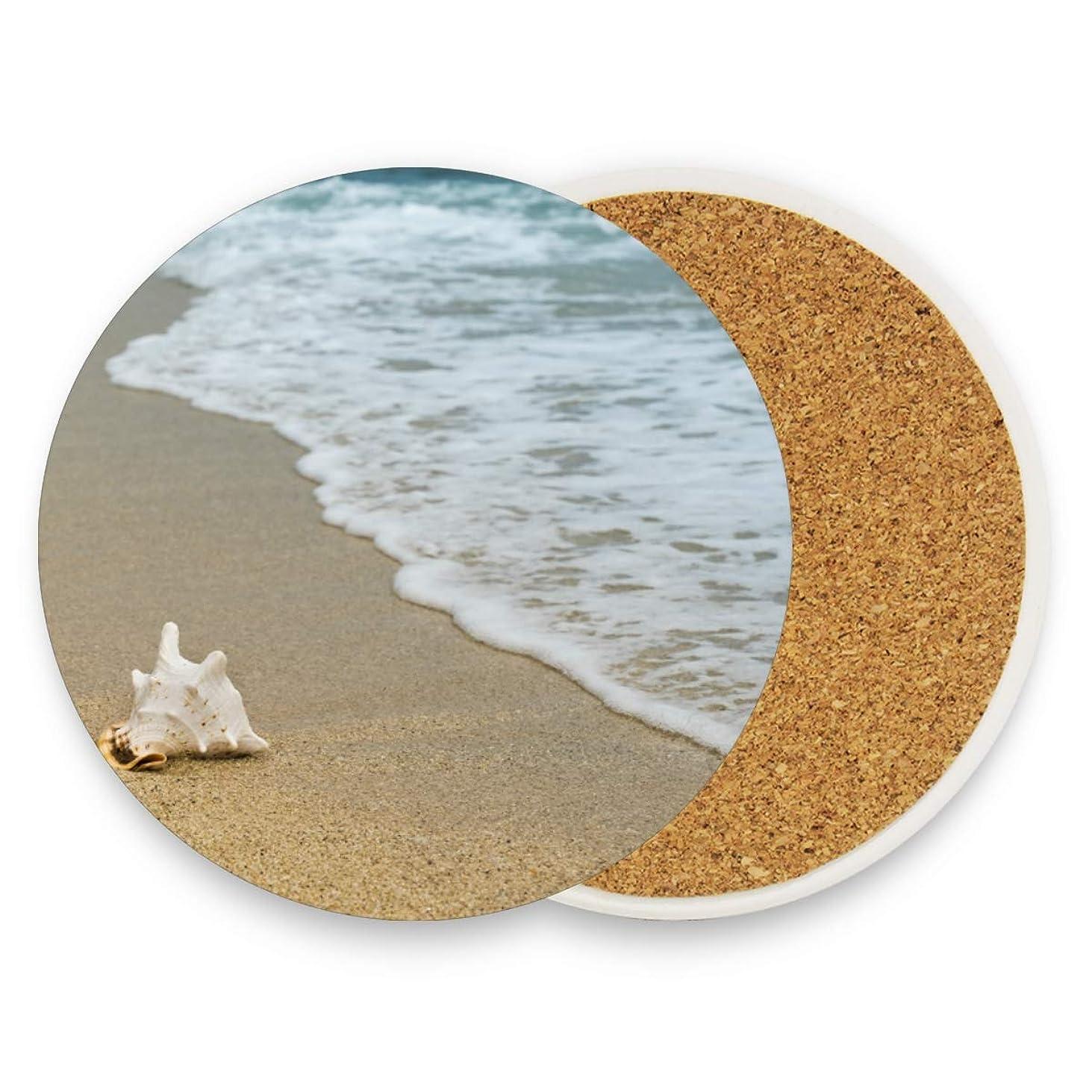 参照かもしれない一流コースター ビーチ 海 円形 2枚セット エコ素材 断熱パッド 防水 優れた耐熱性 高耐久性 滑り止め 速乾 コップ敷き 飲茶 飲コーヒー キッチン オフィス 喫茶店