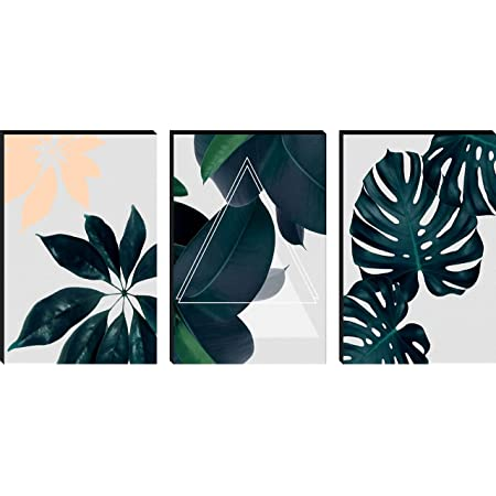 SAF Set of 3 Preety Green Leaf Modern Art MDF Self Adhessive UV Textured Painting 27 Inch X 12 Inch(Each Painting Size 12 Inch X 9 Inch) PHC30200
