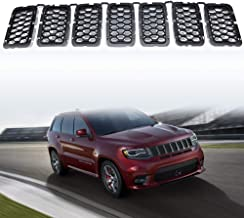 YAV 7PCS Black Grill Inserts for Jeep Grand Cherokee 2017 2018 2019 2020 Honeycomb Matte Mesh Front Grille Accessories Replace Part