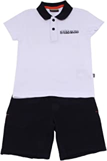 7815Y Completo Bimbo Boy White/Blue Polo+Shorts Cotton Set