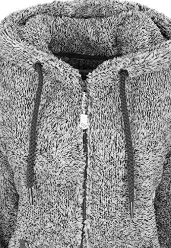 Eight2Nine Damen Jumpsuit aus kuscheligem Teddy Fleece | Overall | Ganzkörperanzug mit Ohren Dark-Grey - 4