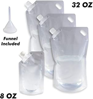 Cruise Ship Flask Kit - Reusable & Concealable Liquor Bags - Sneak or Smuggle Booze & Alcohol (3x32oz + 1x8oz + Funnel Included)