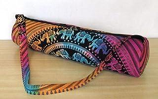 Ababilart Indian Mandala Hippie Yoga Mat Carrier Bag with Shoulder Strap Gym Bag Beach Bag (Mandala Black Gold)