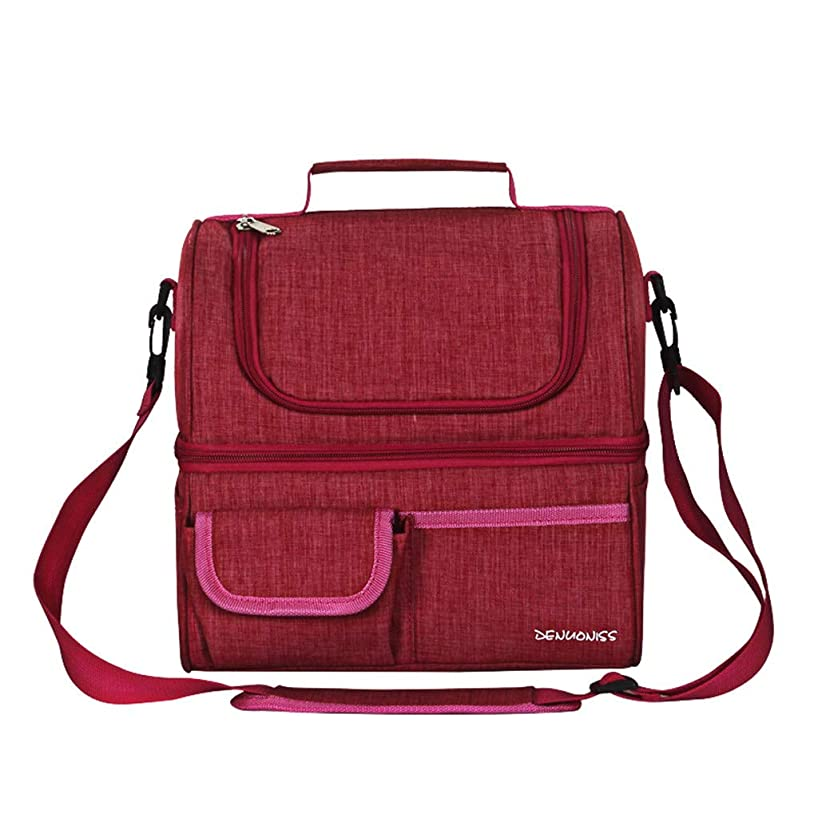 Insulated Double Lunch Bag Portable Box Outdoor Camping Picnic Hiking School Large Capacity Multifunction Oxford Handbag