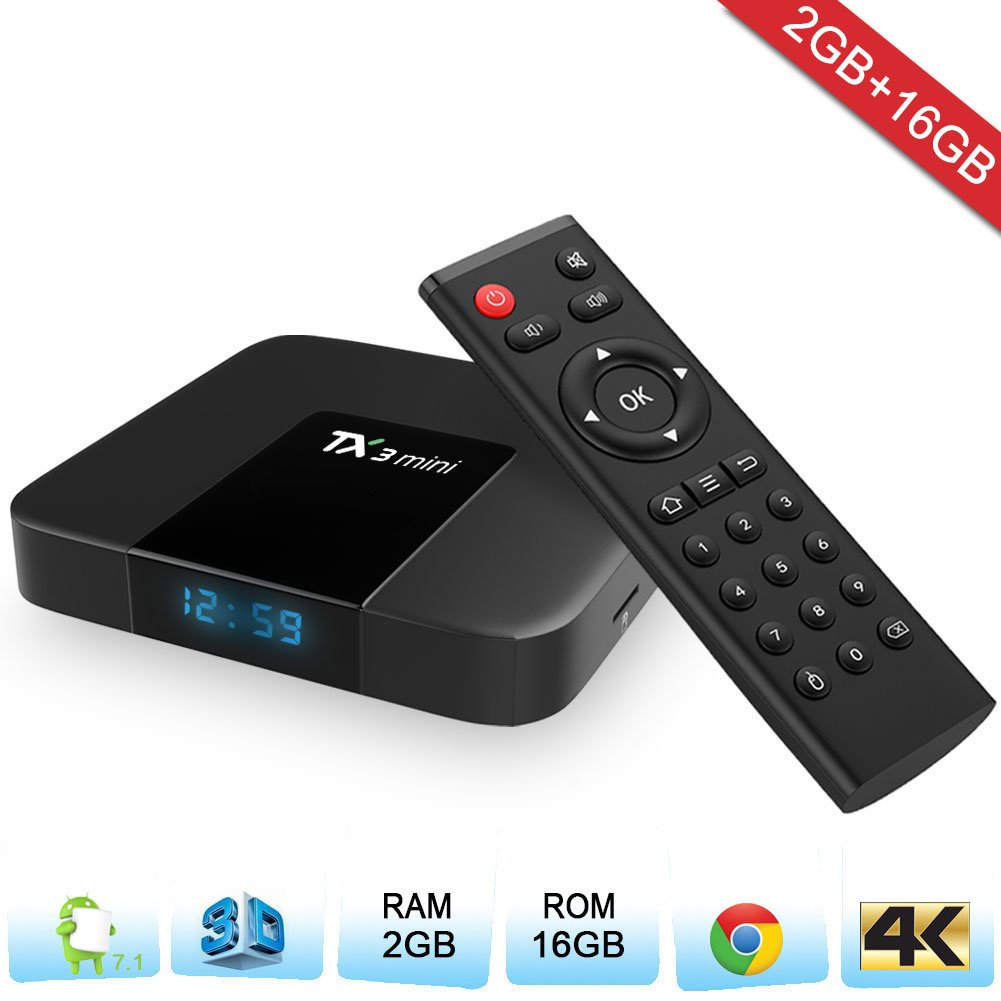 Zenoplige TX3 Mini Android TV Box Android 7.1 Marshmallow 2G 16G 4K H.265 64BIT DLNA WiFi LAN Smart TV Box: Amazon.es: Electrónica