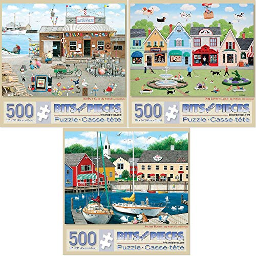 """Bits and Pieces - Value Set of Three (3) 500 Piece Jigsaw Puzzles for Adults - Each Puzzle Measures 18"""" x 24""""- Old Fashioned Country Scene Jigsaws by Artist Wilfrido Limvalencia"""