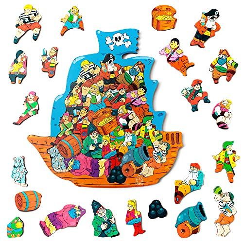 MINICHICK Puzzles de Madera para niños 5,6,7,8 años. Rompecabezas de Madera para niños de 3 a 8 años. Juguete Educativo y Divertido. Preescolares. Rompecabezas Montessori. Barco Pirata