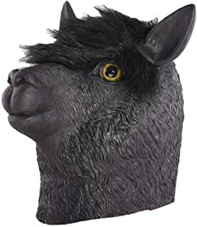 LUHUAISH AU Halloween Party Black Alpaca Animal Masks Latex Masks (Color : Black, Size : One Size)