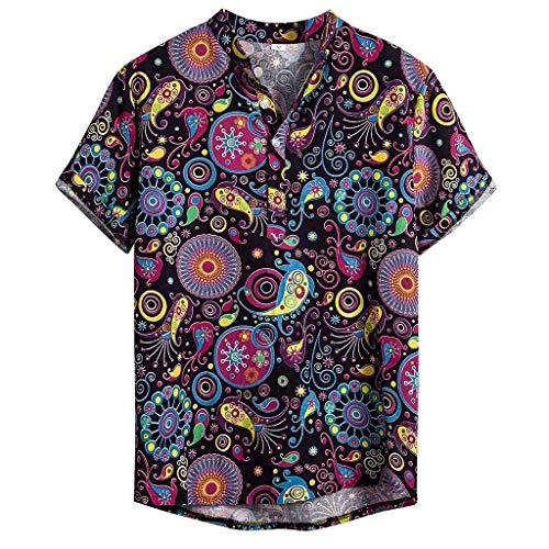Rusaly Herren Casual Button Down Hawaii Tropisches Hemd Herren Sommer Kurzarmhemd Hawaiihemd Freizeithemd Urlaub Strandhemd P, XL Lila (surfen Geschenk, haweihemden Herren)