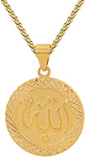 Fusamk Hip Hop Plated 18K Gold Religion Alloy Round Tag Pendant Necklace