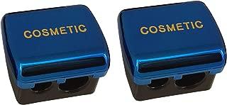 JOSALINAS Dual Makeup Sharpener (2 pack) for Cosmetic Eyebrow Eyeliner Pencil, Blue