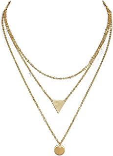 Single and Layered Choker Necklace Pendant Bar Triangle Disc Gold for Women
