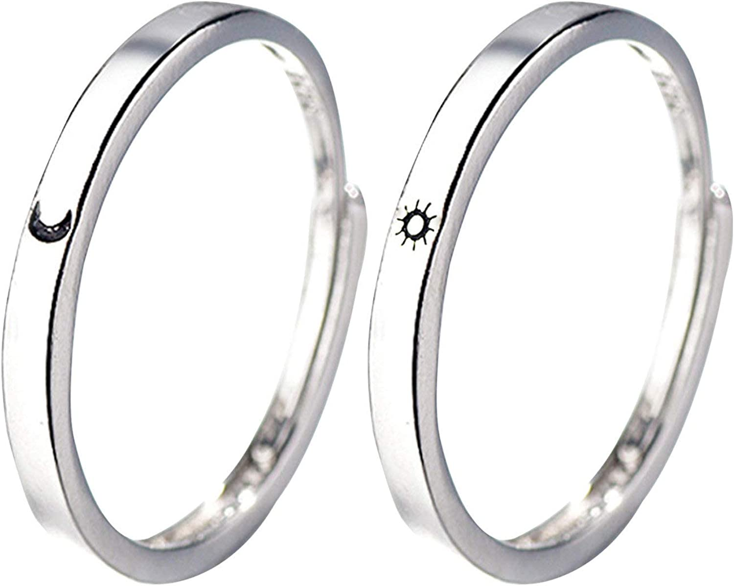 Rings, 1 Pair Anti-scratch Eye-catching Sun Moon Rings Adjustable Opening Copper Couples Promise Wedding Rings for Daily Wear Anniversary Engagement