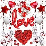 ASANMU - Set de decoración para el día de San Valentín, 1000 pétalos de Rosa + Globos Rojos + Globos de corazón + Globo de plástico + Globos de látex para decoración romántica de Bodas y cumpleaños