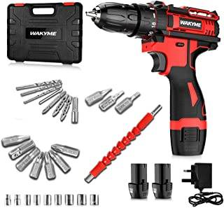 """WAKYME 12.6V Cordless Drill Driver Kit, Power Drill with 2 Batteries,30Nm, 18+3 Clutch, 3/8"""" Keyless Chuck, LED Light, Var..."""