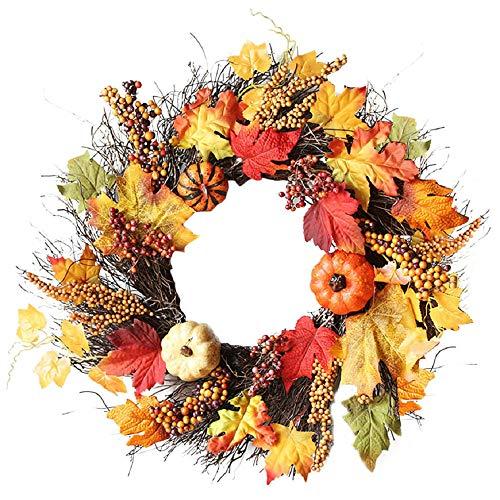 FeiliandaJJ 60cm Halloween Kranz Deko künstliche Blume Rattan Kürbis Ahornblatt Beere Kranz TürKranz WandKranz Herbst Kranz Anhänger Ornament (multicolor)