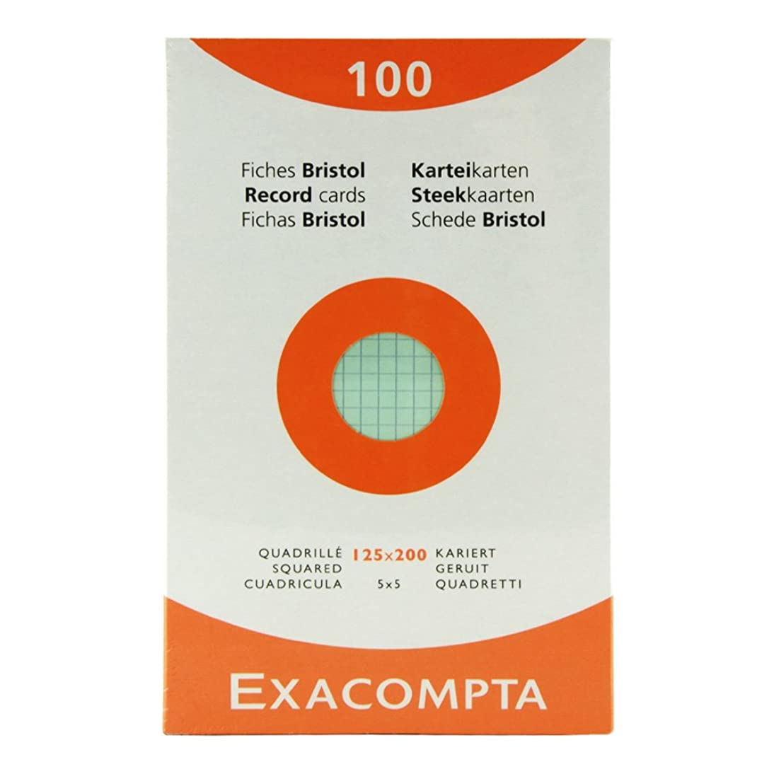 Exacompta Index Cards 5X8 Inch, 100 Pack, White,